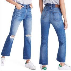 Madewell Retro Crop Bootcut Distress Raw Hem Jeans